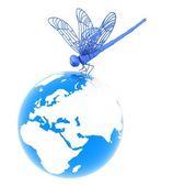 Dragonfly on earth — Stockfoto