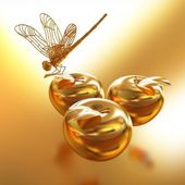 Dragonfly on gold apples — Stockfoto
