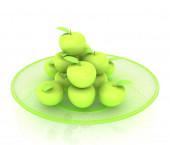 白プレートのりんご — ストック写真
