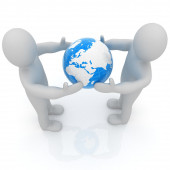 3d mens around the earth kindly make contact — Stock Photo