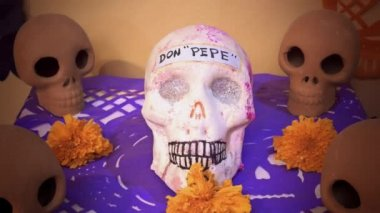 Altar of the day of the dead — Stock Video