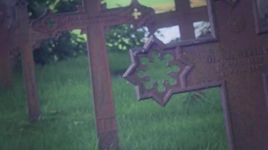 Stone Crosses of a War cemetery — Stock Video