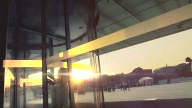 Curved Sliding Door at sunset — Stock Video