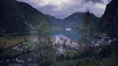 Panoramic view of Geirangerfjord — Stock Video