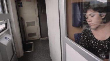Hispanic woman sleeping in the train — Stock Video