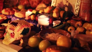 Day of the dead offering altar — Stock Video