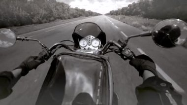 Foreground handlebars of a motorcycle — Stock Video