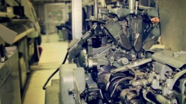 The machinery works in industrial manufacturing — Stock Video
