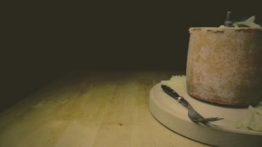 Antique Cheese Grater With Parmesan Cheese — Stock Video