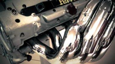 Motor of sport car at Exhibition of Ferrari — Stock Video