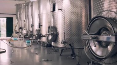 Silos for wine and beer fermentation — Stock Video