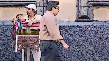 Organ grinder in the street — Stock Video