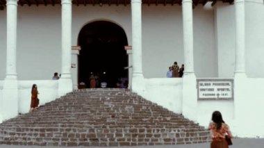 Pilgrims attending to the main church — Stock Video