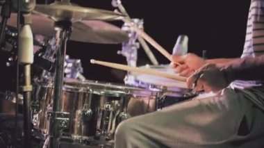 Drummer playing drums — Stock Video