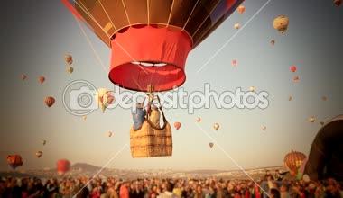 Hot air balloon festival — Stock Video