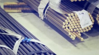 Metal bars of different size — Stock Video