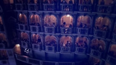 Spectators seated on balconies of the Bibiena Theater — Stock Video