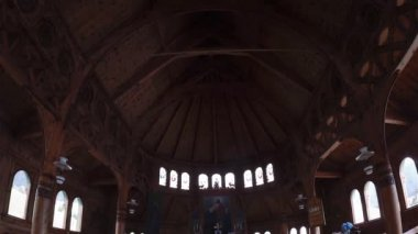 Indoors of Church St Olaf Stave — Stock Video