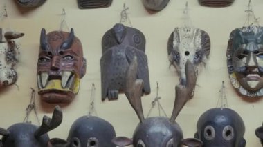 Wall of masks ceremonies — Stock Video