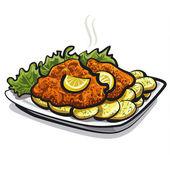 Roasted schnitzel — Stock Vector