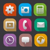interface icons flat — Stock Vector