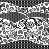 Lace embroidery seamless pattern border — Stock Vector