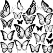 Butterfly black silhouettes — Stock Vector #53068857
