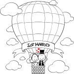 Bridal couple on hot air balloon — Stock Vector