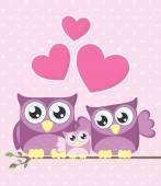 Owls family — Stock Vector