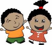 Black children cartoon — Stock Vector