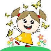 Little girl with butterflies — Stock Vector