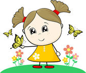 Cute little girl with butterfly — Stock Vector