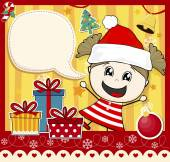 Christmas card girl with santa hat — Stock Vector