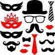 Mustaches and lips for party props — Stock Vector #64648767