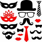 Mustaches and lips for party props — Stock Vector