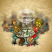 Background in vintage style people in the restaurant with blured backdrop — Stock Vector