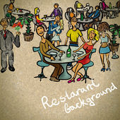 Background in vintage style people in the restaurant — Stock Vector
