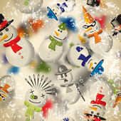 Seamless pattern with snowmen with blurred backdrop in vintage s — Vetorial Stock