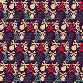 Seamless pattern with skulls and bones — Stockvector