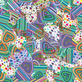 Seamless pattern of colorful striped hearts — Stok Vektör