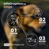 Set of dogs infographics with blurry background — Stock Vector