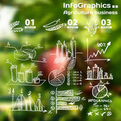 Infographics with blurry photographic background on the topic of — Stock Vector