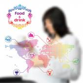 Vector blurred background with infographics on food and drinks — Stockvector