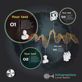 Infographics with sound waves on dark background with business t — Stock Vector