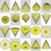 Background of yellow rotating cone — Vector de stock