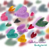 Streszczenie tło akwarela kolorowych serc — Wektor stockowy