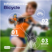 Set of infographics with blurry photographic background on the t — Stock Vector