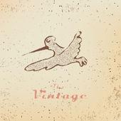 Vintage popisek s s létající ptáci na vybledlý papír — Stock vektor