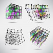 Set of cubes with color texture triangles, lines and dots — Stock Vector #73903013