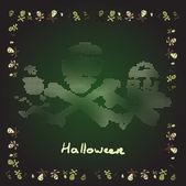 Card Merry Halloween bones theme in shades of green — Stock Vector